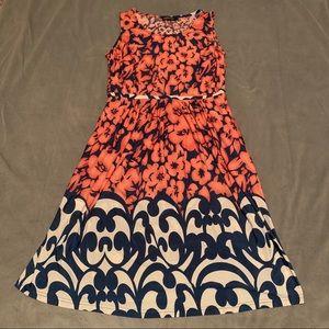 Reborn Coral Navy Floral Dress EUC Size L